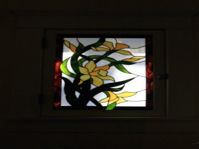 Beautiful pair of stained glass windows in the living room